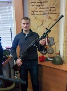 Породин Иван с пулемётом